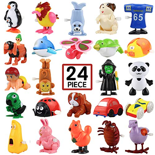 Wind-Up Toys, 24 Pack Assorted Mini Toy for Kids Party Favors, Birthday Goody Bag Filler Preschool Toy for Boys Girls Children,Gifts Pinata Filler Carniva Prizes Classroom Incentive Reward ()
