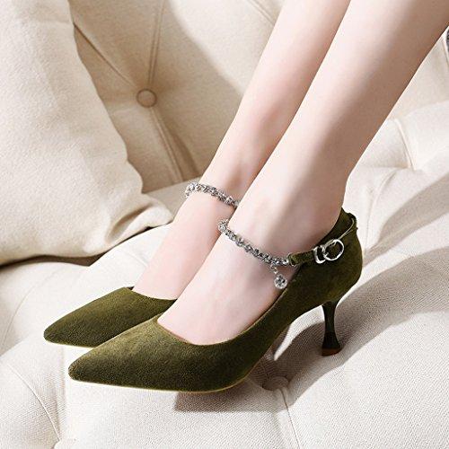 HWF Chaussures femme Printemps Pointu Mince Chaussures à talons hauts Chaussures simples Femmes Chaussures Femme ( Couleur : Noir , taille : 38 ) Vert