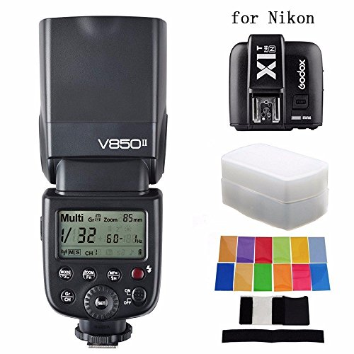 Godox更新されv850ii gn60フラッシュ+ x1t-n Tranmitter + EACHSHOTディフューザー+カラーフィルタ v850 II内蔵2 4 GサポートマスタースレーブLi Ion Battery for Nikonの商品画像