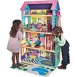Casa de muñecas de madera con ascensor y muebles