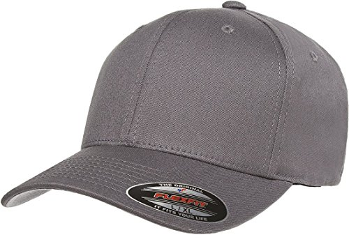 Flexfit/Yupoong Men's Cotton Twill Fitted Cap, Grey, Large/Extra Large