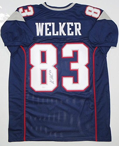 Discount Autographed Wes Welker Jersey Blue Pro Style *8 JSA Certified