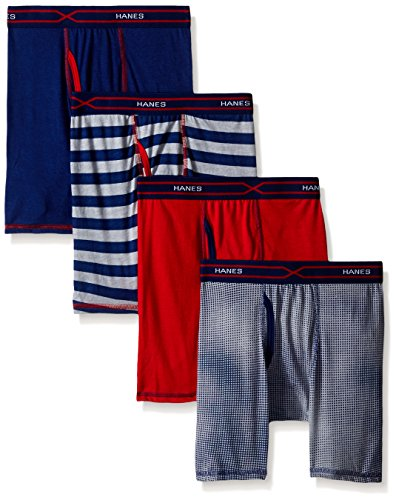 Hanes Boys' 4-Pack X-Temp Long Legged Dyed Boxer Brief, Assorted ()