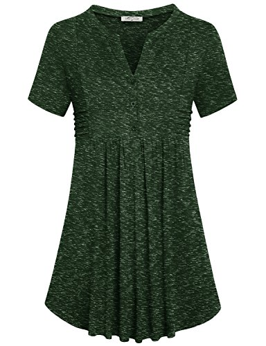 (SeSe Code Henley Tunic, Women Dressy Blouse Tunics Top Stylish Cool Design Notch Neck Nice T Shirt Comfy Empire Waist Floating Easy Fit Comfort Summer Cute Shirts Olive Army Space Dye Green L Tunics)