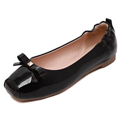Easemax Women's Sweet Bowknot Slip On Square Toe Closed Low Top Flats Shoes