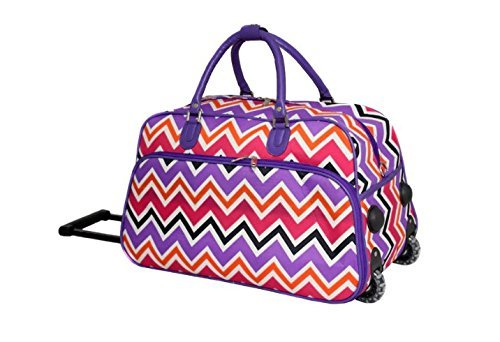 DH Girls Purple Chevron Duffel Bag, Carry On Luggage, Zig Zag Duffle, Pink Orange