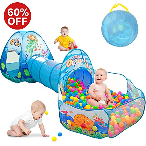 - SUNBA YOUTH Kids Tent with Tunnel, Ball Pit Play House for Boys Girls, Babies and Toddlers Indoor& Outdoor(Balls Not Included) (Blue)