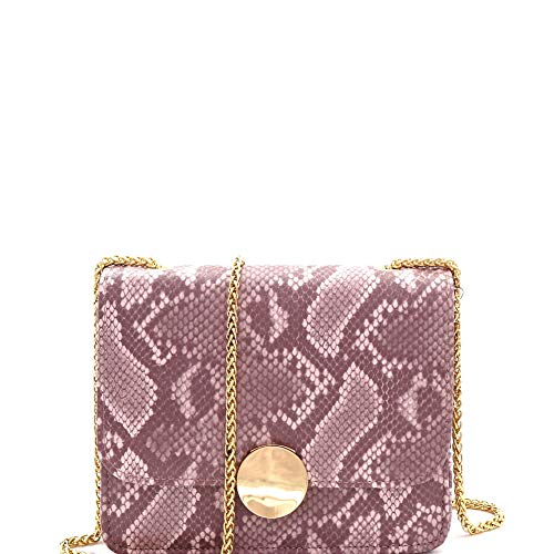 Vintage Neon Color Snakeskin Print Twist Lock Flap Small Chain Strap Crossbody Shoulder Bag (Square Style - Pink) ()