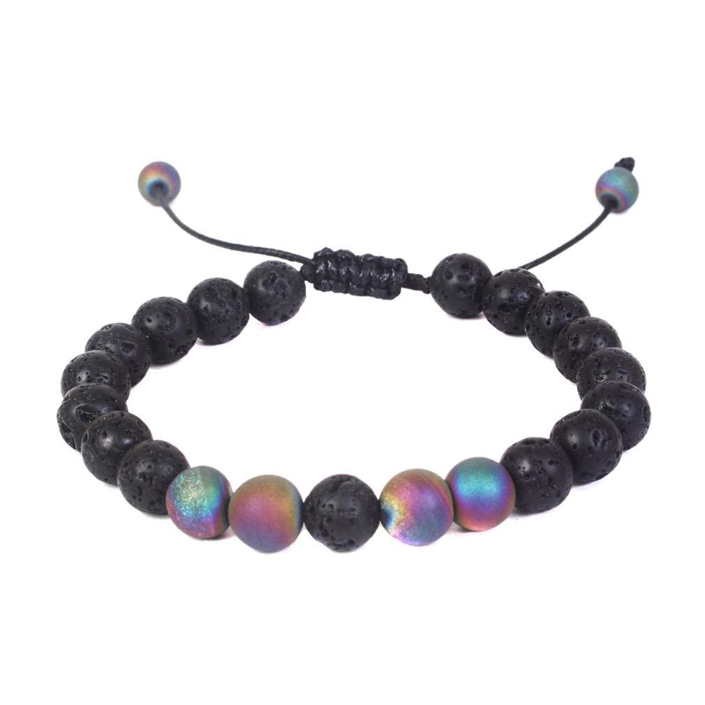 LUBINGSHINE 8mm Lava Rock 7 Chakra Diffuser Bracelet Elastic Natural Stone Yoga Beads Bracelet Bangles for Men Women (A)