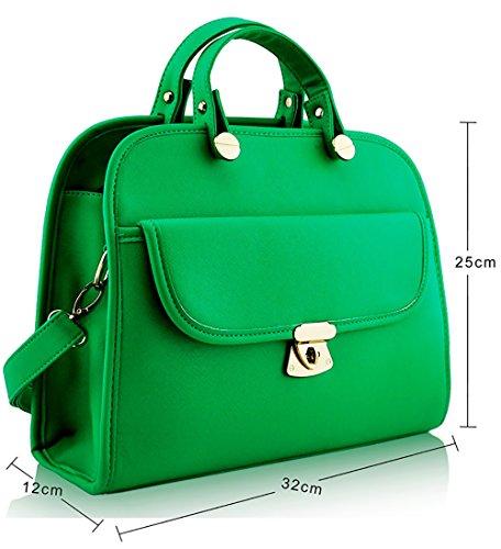 ANNA GRACE - Bolso de asas de piel sintética para mujer Design 1 - Green