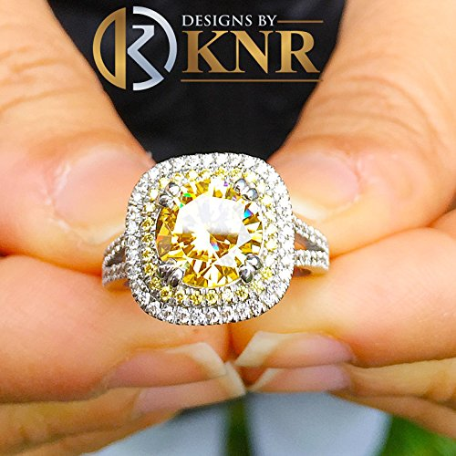 Large 4.00 Carats 14k Solid White Gold Round Cut Simulated Diamond and simulated Fancy Yellow Diamonds Engagement Ring Double Halo (Pave Double Prong)
