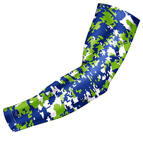Bucwild Sports Compression Arm Sleeve - Youth & Adult Sizes - Baseball Football Basketball (1 Arm Sleeve - Blue & Green Digital Camo - Adult Medium)