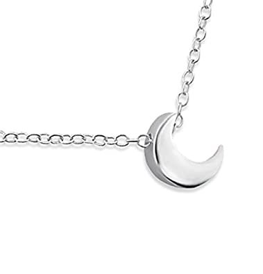 Sterling Silver Moon Necklace (Tiny/Discreet) 45cm T47TDMf