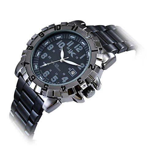 Yaki Designer Armbanduhren Wasserdicht Uhr Herren Analog Quarz mit Datum Metallband Schwarz