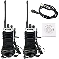 Retevis RT7 2-Way Radio 3W 16 Channels UHF FM Radio Ham Handheld Transceiver (Silver Black Border, 2 Pack) and Programming Cable