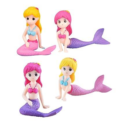 SUPVOX 4 unids Miniatura Sirena estatuilla Sirena muñeca Sirena Regalos del Partido favores Sirenita para Acuario