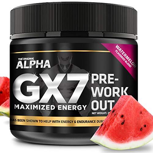 Alpha Gx7 Pre Workout Powder - Energy Drink for Workouts - 30 Servings Watermelon Flavor