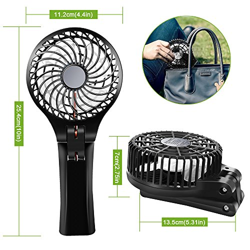 Fan BENGOO Foldable Persoanl Hand Handheld Portable USB Rechargeable Fan fwith Power Bank Feature for Home Office Outdoor Traveling Hiking Camping Use (Black) by BENGOO (Image #4)