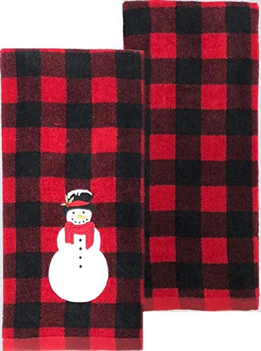 "St. Nicholas Square Snowman Red Plaid Kitchen Towel 2-pk -26"" x 16.5"""
