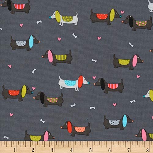 Michael Miller Paw Prints ASPCA Puppy Love Fabric, Clay, Fabric By The Yard
