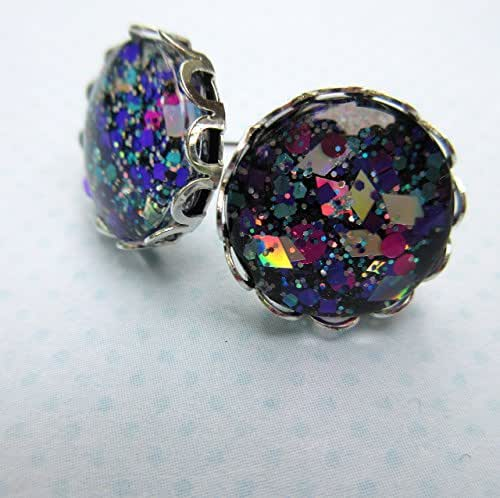 Silver-tone Aqua Blue Pink and Purple Glitter Glass Stud Earrings Hand-painted 12mm