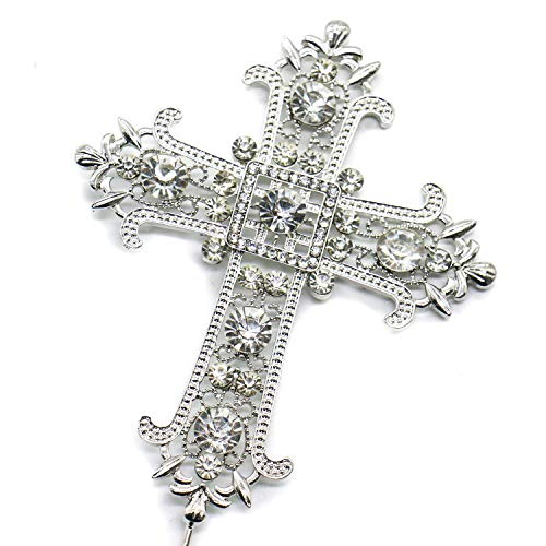 IDS Cross Rhinestone Crystal Cake Decoration Topper for Wedding Religious Baptism Christening First Communion (First Communion Crystal)