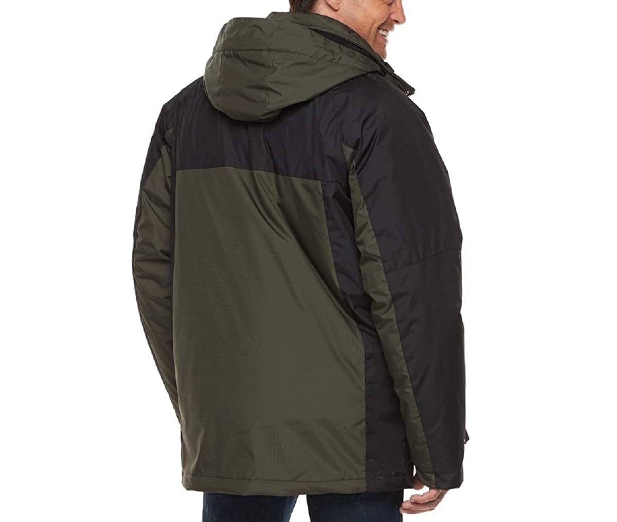 Black Charcoal, Large IZOD Mens 3-in-1 Hooded Systems Jacket