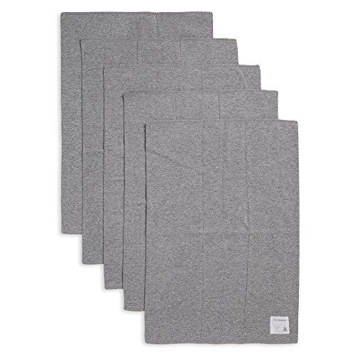 Burt's Bees Baby - Burp Cloths, 5-Pack Extra Absorbent 100% Organic Cotton Burp Cloths, Heather Grey Solids ()