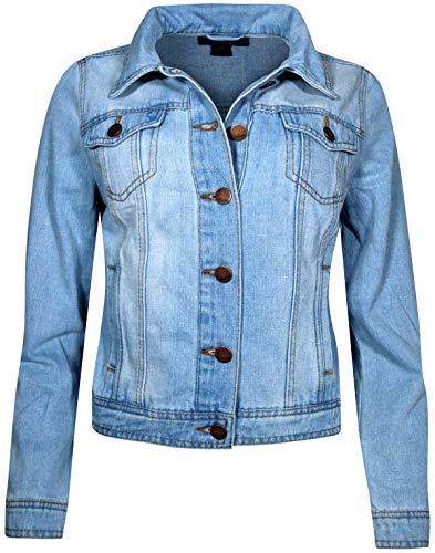Jou Jou Women Basic Denim Jean Jacket, Light Wash, Size Small
