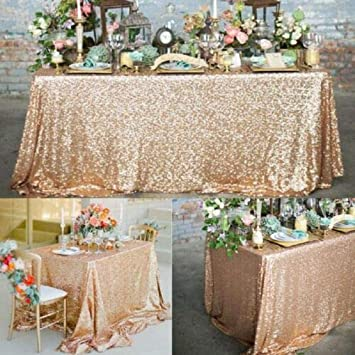 """60/""""x102/"""" Sparkly Rose Gold Sequin Tablecloth Square Table Cover Wedding Party"""