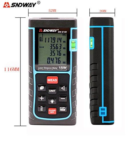 SNDWAY SW-E150 150M 493FT Digital Diastimeter Laser Distance Meter Laser Rangefinder Meter Area Volume Measure Tool