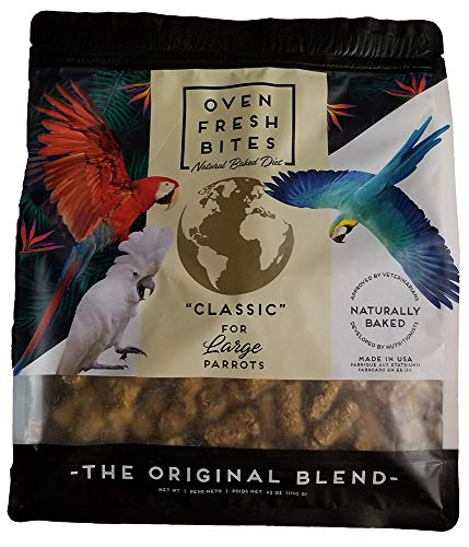 Oven Fresh Bites Freshly Baked Pet Bird Food, For Amazons, Cockatoos and Macaws, 42-Ounce Resealable Package