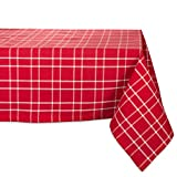 """DII 52x52"""" Square Cotton Tablecloth, Berry Plaid Red - Perfect for Fall, Thanksgiving, Farmhouse Décor, Dinner Parties, Christmas, Picnics & Potlucks or Everyday Use"""