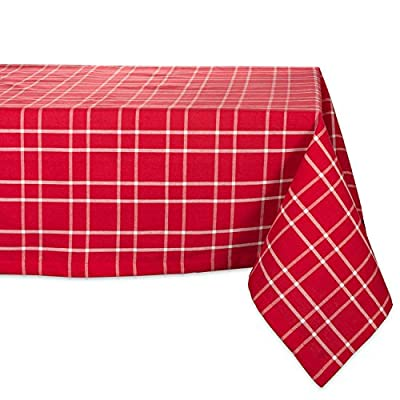 DII CAMZ37705 HOLLY BERRY TC 52X52, Farmhouse Plaid - SEATS 4 PEOPLE - See tablecloth size chart in images to decide on size needed for your table. EASY CARE - 100% cotton, machine washable, gentle cycle, tumble dry low. Low iron if needed. ADDS A FINISHING TOUCH -  Let your dinnerware stand out with our color fast wrinkle resistant tablecloths, sure to make a statement. - tablecloths, kitchen-dining-room-table-linens, kitchen-dining-room - 51AFC6D0OzL. SS400  -