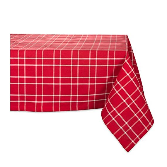 "DIIFarmhouse Plaid Square Tablecloth, 100% Cotton with 1/2"" Hem for Holiday, Family Gatherings, & Christmas Dinner (52x52"" - Seats 4) - SEATS 4 PEOPLE - See tablecloth size chart in images to decide on size needed for your table. EASY CARE - 100% cotton, machine washable, gentle cycle, tumble dry low. Low iron if needed. ADDS A FINISHING TOUCH -  Let your dinnerware stand out with our color fast wrinkle resistant tablecloths, sure to make a statement. - tablecloths, kitchen-dining-room-table-linens, kitchen-dining-room - 51AFC6D0OzL. SS570  -"