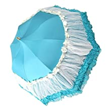 Honeystore Pagoda Parasol 3 Folding Lace Totes Sun Rain Wedding Ruffle Umbrella Blue