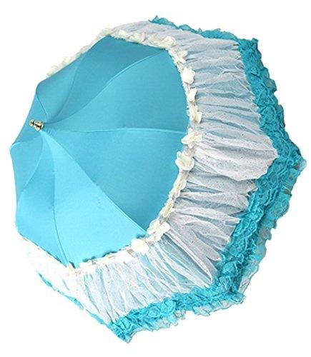 (Honeystore Pagoda Parasol 3 Folding Lace Totes Sun Rain Wedding Ruffle Umbrella Blue)