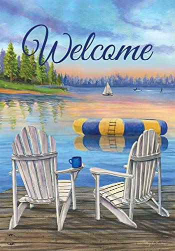 (Briarwood Lane Waterfront Retreat Nautical Garden Flag Summer Welcome Adirondack 12.5