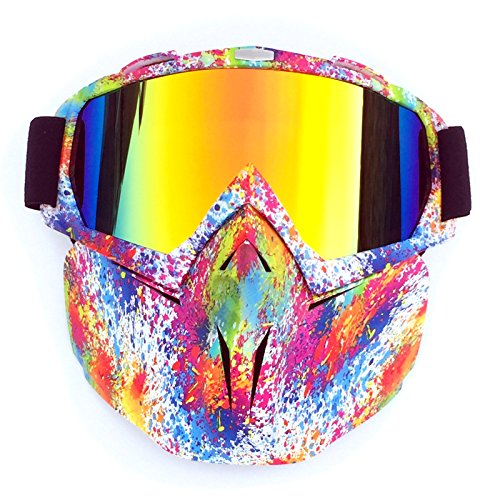 HYHMJ Motorcycle Goggles, Retro mask Goggles Off-Road Motorcycle Racing Goggles Outdoor Riding Glasses Skiing Goggles Can be Changed Glasses can be Fitted with Head Glasses,C