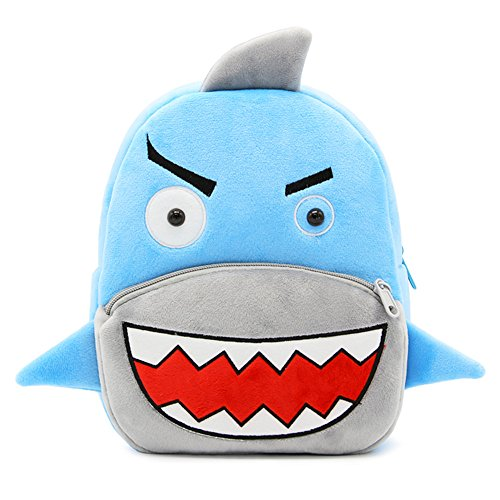 White Dolphin Cute Toddler Backpack,Cartoon Cute Animal Plush Backpack Toddler Mini School Bag for Kids Age 1-3 Years Old(shark), Small ()