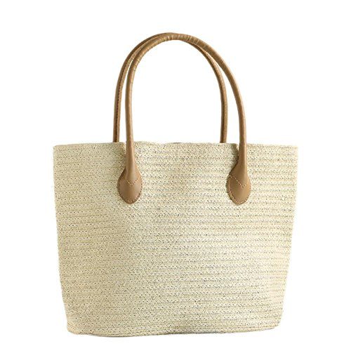 Women Beach Bag Fabric Straw Handmade And Fashion Totes Ibaste Bag Shoulder New Casual Simple Bag Bag aRBq5wS1