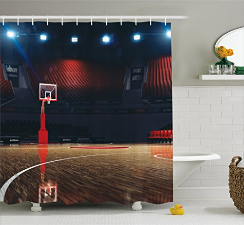 Sports Decor Shower Curtain Set by Ambesonne, Picture of Empty Basketball Court Sport Arena with Spot Lights and Wood Floor, Bathroom Accessories, 75 Inches Long, Brown Black and Red