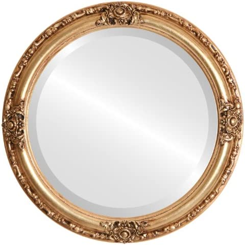 Round Beveled Wall Mirror for Home Decor – Jefferson Style – Gold Leaf – 32×32 Outside Dimensions