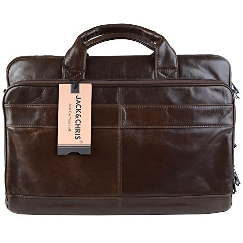 Jack Chris Men s Genuine Leather Briefcase Messenger Bag Lawyer Laptop Bag b7155b49e7eeb
