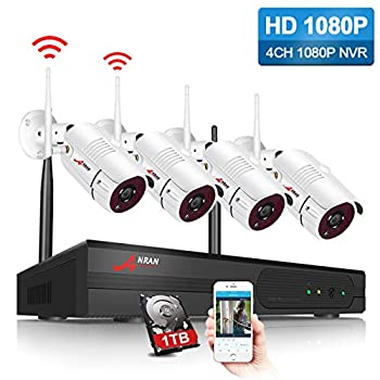 Image of ANRAN Security Camera System Wireless Outdoor 1080P 4 Channel Video Security System with 1TB Hard Drive 4pcs 1080P HD 2.0 Megapixel Wireless Weatherproof Bullet IP Cameras Night Vision,P2P,Free APP Home Improvements