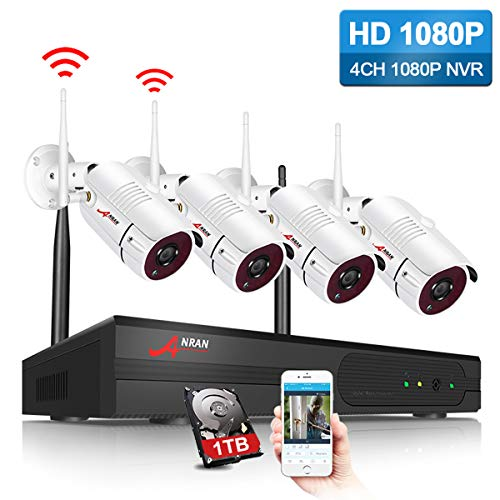 ANRAN Security Camera System Wireless Outdoor 1080P 4 Channel Video Security System with 1TB Hard Drive 4pcs 1080P HD 2.0 Megapixel Wireless Weatherproof Bullet IP Cameras Night Vision,P2P,Free APP
