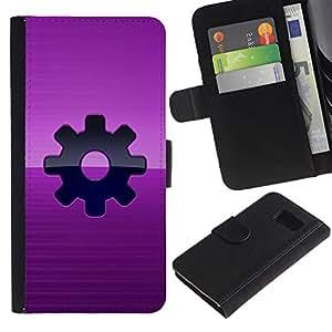 UNIQCASE - Samsung Galaxy S6 SM-G920 - Purple Sprocket Steam punk - Cuero PU Delgado caso cubierta Shell Armor Funda Case Cover