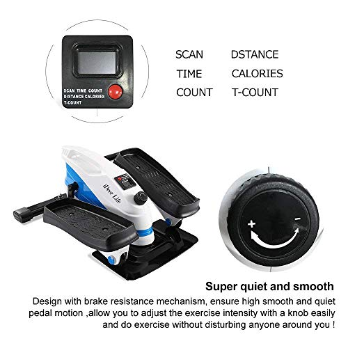 IDEER LIFE Under Desk&Stand Up Exercise Bike,Mini Elliptical Trainers Stepper Pedal w/Adjustable Resistance and LCD Display,Fitness Exercise Peddler for Home&Office Workout (White Blue 09023) by IDEER LIFE (Image #4)