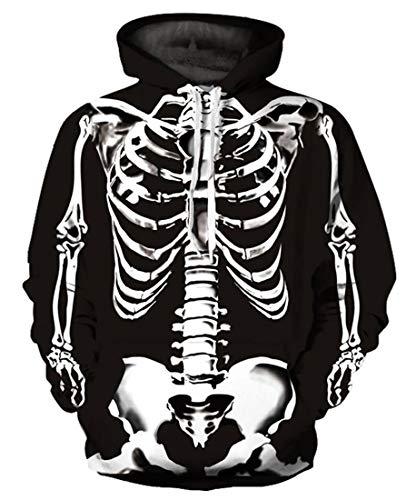 9Yourtime Unisex 3D Printed Skulls Skeleton Pullover Men Women Sportswear Hoodie -