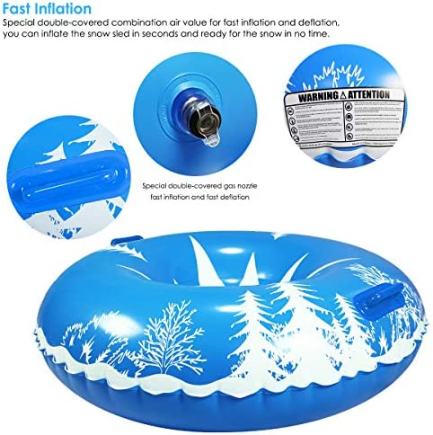 Haokaini Winter Snow Tube Inflatable Snow Sled with Easy-Grip Handles for Kids Adults